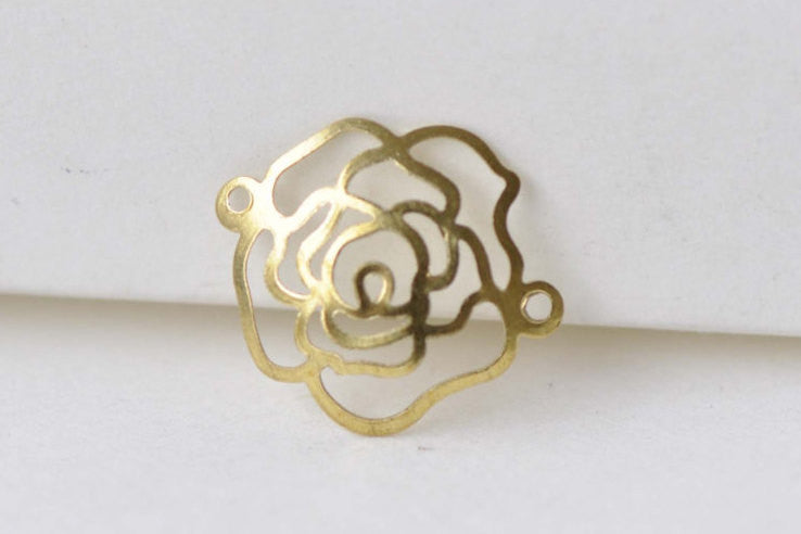 30 pcs Raw Brass Curved Rose Flower Connector Embellishments A8589