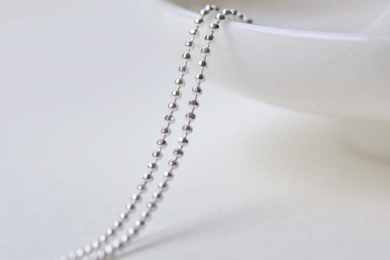 16ft (5m) Silver Faceted Bead Ball Necklace Chain 1.2mm A8592