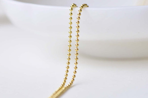 16ft (5m) Gold Plated Brass Bead Ball Chain 1mm A8595