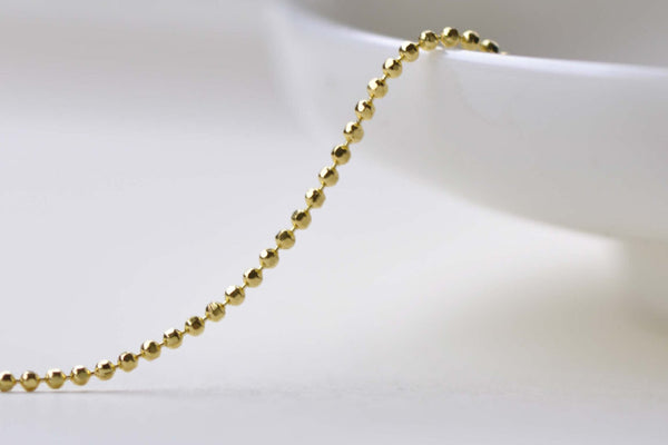 16ft (5m) Gold Plated Faceted Bead Ball Necklace Chain 1.2mm A8600