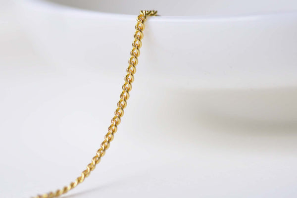 16ft (5m) Anti Tarnish 16K Gold Flat Curb Chain 1.2mm A8603