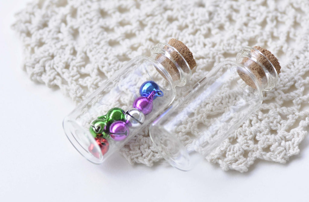 10 pcs Clear Glass Bottles Empty Vials Jars With Corks A8615