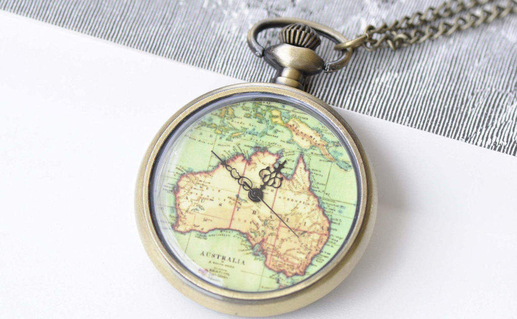 Pocket Watch - 1 PC Antique Bronze Vintage Map Pocket Watch Necklace A8697