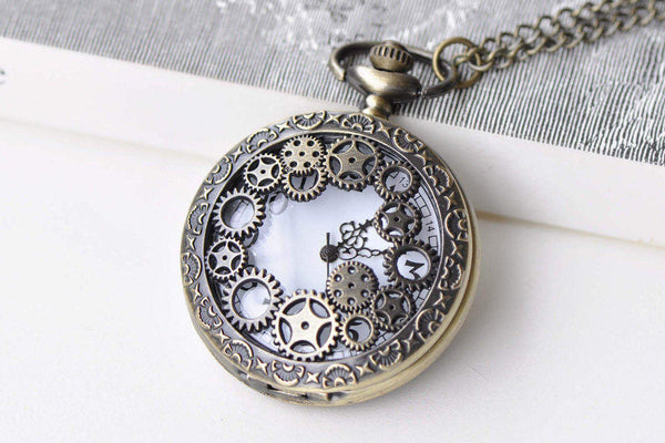 Pocket Watch - 1 PC Antique Bronze Steampunk Gear Wheel Pocket Watch Necklace A8637