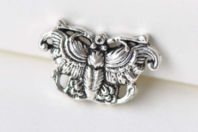 10 pcs Antique Silver Fancy Rondelle Owl Beads Double Sided A8623
