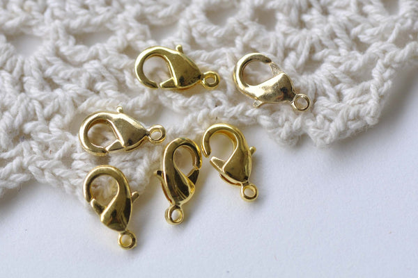 50 pcs Gold Plated Brass Lobster Claw Clasps 6x12mm A8626