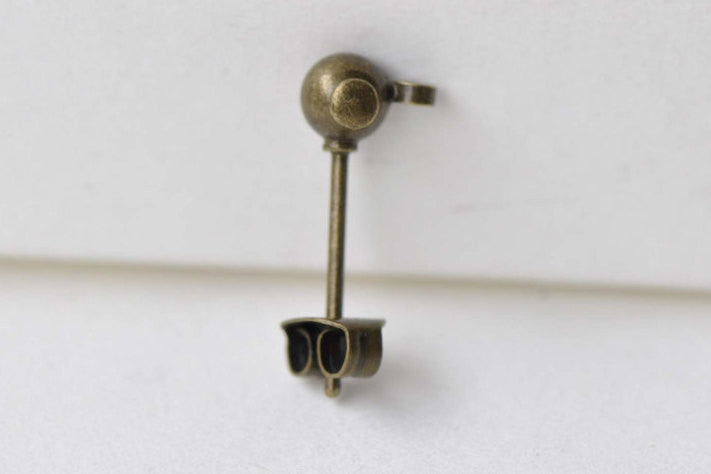 Antique Bronze Ball Earring Post Ear Stud With Backs Set of 20 A8634