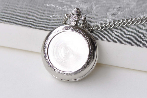 Pocket Watch - 1 PC Platinum Bezel Pocket Watch Necklace 1 Inch Cabochon A8639
