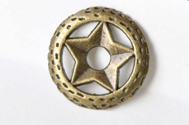20 pcs Wicca Pentagram Circle Charms Antique Bronze Pendants A8649