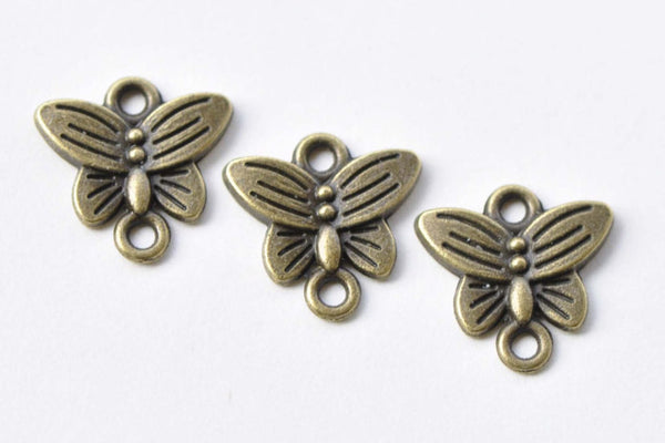 20 pcs Antique Bronze Butterfly Connector Charms 14mm A8651