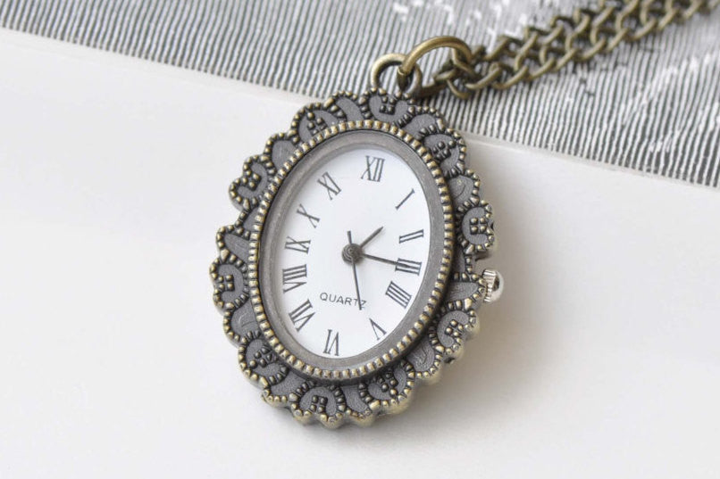 1 PC Oval Resin Flower Cameo Pocket Watch Necklace A8720