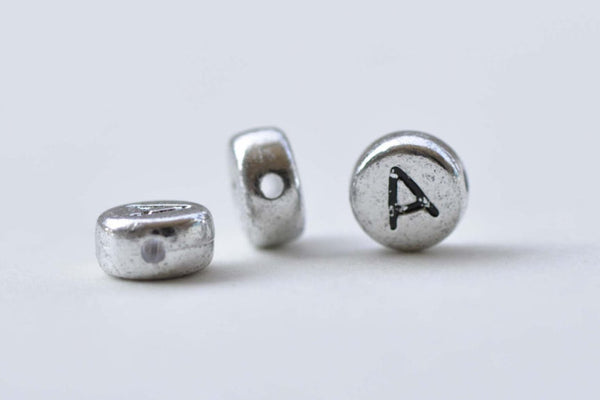 30 pcs Silver Alphabet Letter A Beads Tiny Acrylic Findings A8724