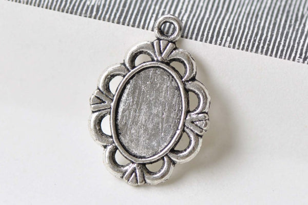 20 pcs Antique Silver Pendant Tray Settings 10x14mm Cabochon A8668