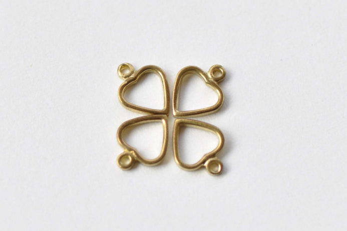 50 pcs Raw Brass Tiny Heart Frame Charms 5.6x7.5mm A8742