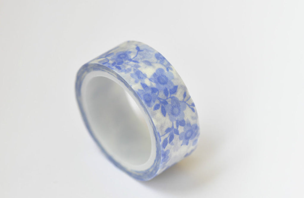 Blue Flowers  Washi Tape Deco Tape 15mm x 5M Roll A12124