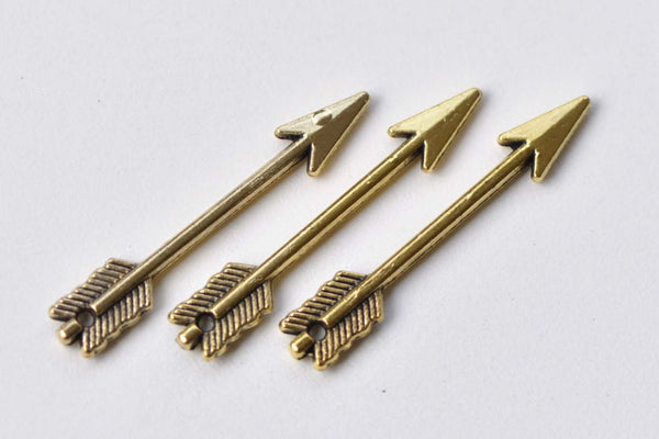 50 pcs Antique Gold Small Arrow Charms 5x29mm A8775