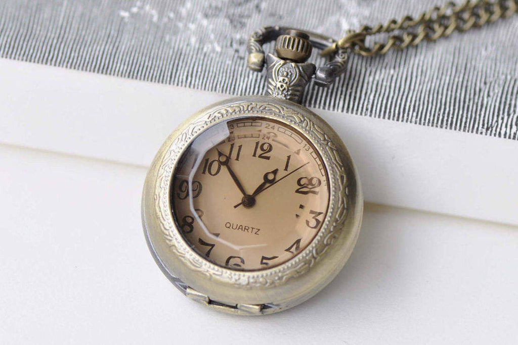 Pocket Watch - 1 PC Antique Bronze Faceted Glass Cover Pocket Watch Necklace A8636