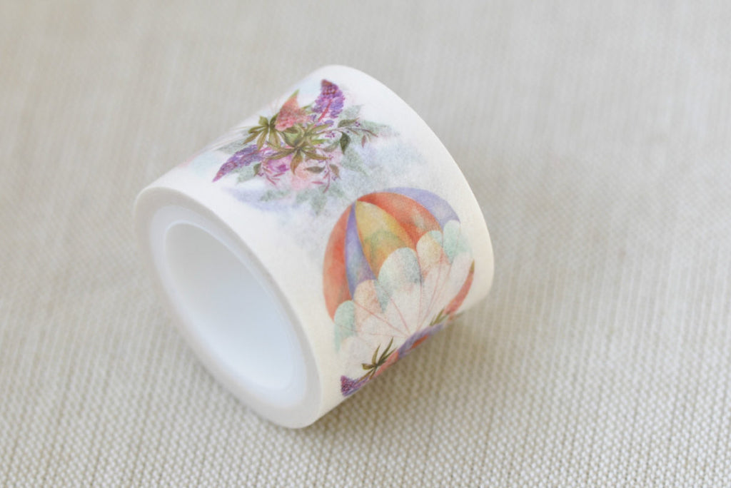 Colorful Hot Air Balloon With Flowers Washi Tape 30mm x 5M Roll A12139