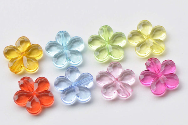 30 pcs Acrylic Five Leaf Flower Beads Faceted Charms Mixed Color A8761