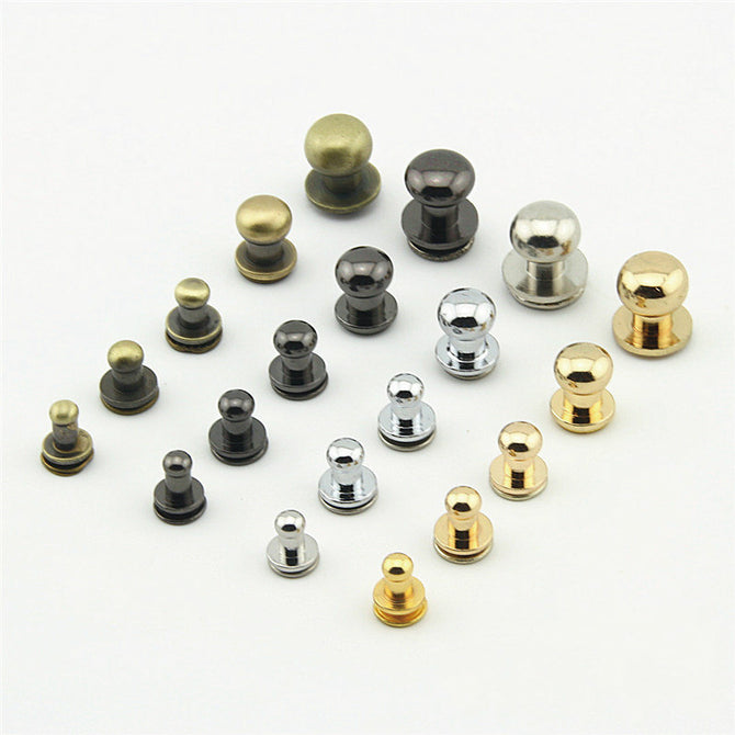 Screwed Studs Button For Diy Purse Brass Rivet/2 Sets A Pack