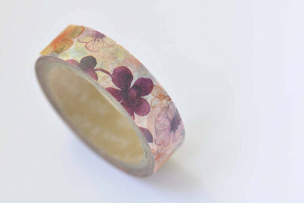 Colorful Flower Washi Tape Masking Tape 15mm x 10M Roll A12338