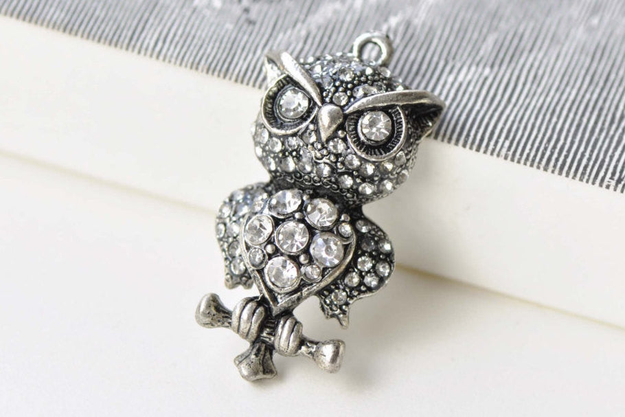 1 PC Antique Silver Pave Diamond Owl Pendant  18x37mm A8776