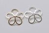 10 pcs Large Filigree 5 Petal Leaf Bead Caps  21mm Shiny Silver/Gold