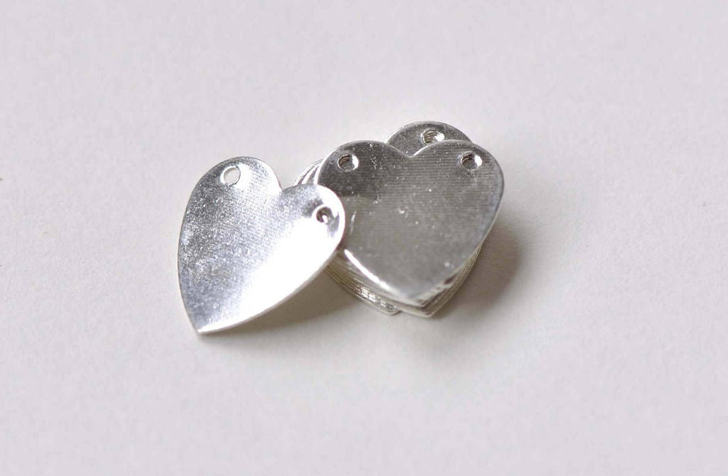 20 pcs Shiny Silver Two Hole Blank Heart Charms Connectors A8841