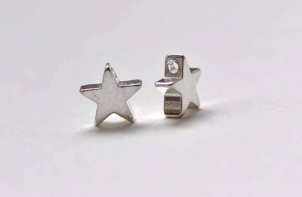50 pcs Shiny Silver Tone Tiny Star Spacer Beads  8mm  A8843