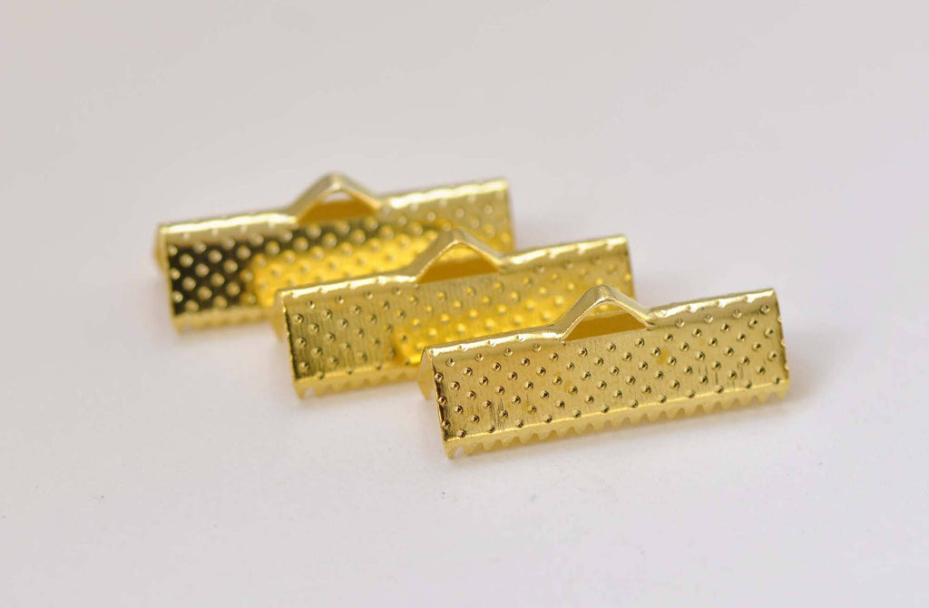 50 pcs Gold Tone Ribbon Ends Clamps Fasteners Clasps 22mm A8847