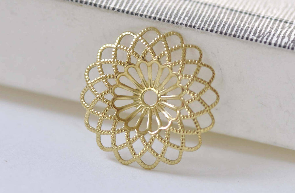 20 pcs Raw Brass Round Sunflower Floral Stampings 22mm A8862