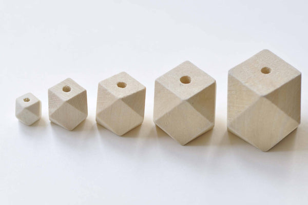 Faceted Geometric Wood Beads Wooden Findings  Set of 20