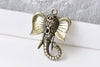 10 pcs Antique Bronze 3D Elephant Pendants Small Size 23x30mm A8794