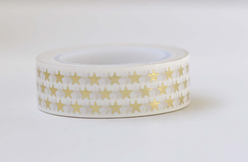 Foil Gold Star Washi Tape 15mm x 10M Roll A12170