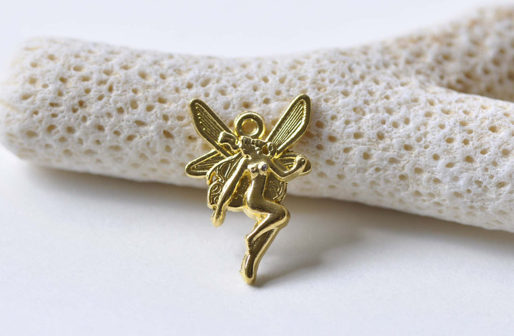 20 pcs Gold Tone Small Fairy Charms Size 15x21mm A8799