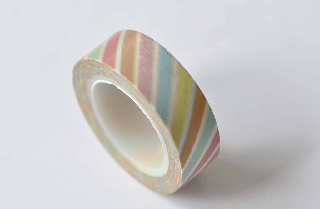 Colorful Translucent Stripes Deco Washi Tape 15mm x 10M Roll A12492