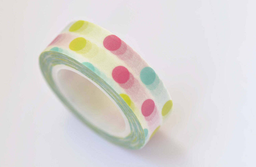Colorful Dotted Spot Washi Tape 15mm x 10M Roll A12339