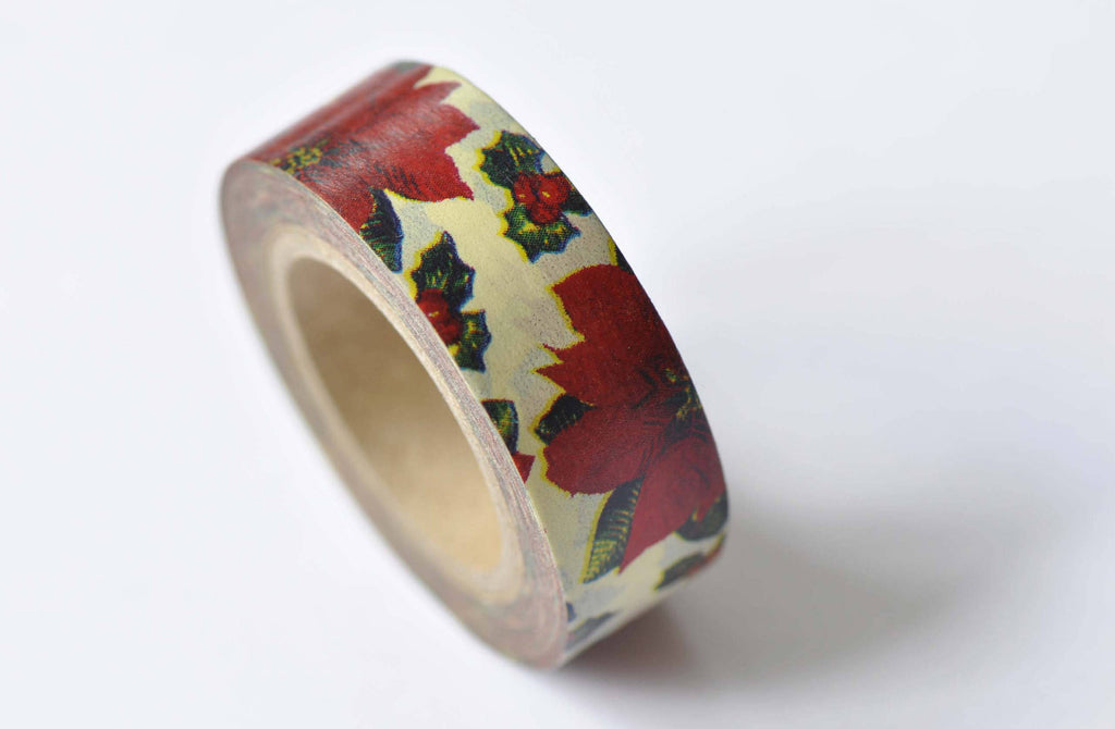 Red Flower Adhesive Washi Tape 15mm Wide x 10M Roll A12501
