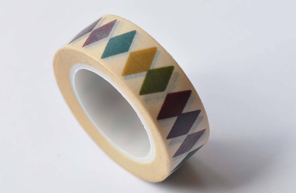 Colorful Diamonds Deco Adhesive Washi Tape 15mm x 10M Roll A12587