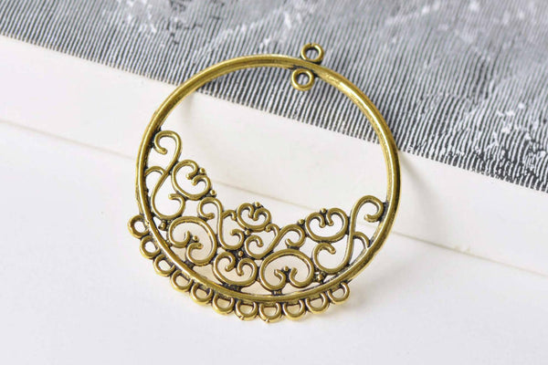 10 pcs Antique Gold Multiple Loop Chandelier Earring Pendants A8811
