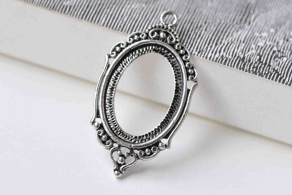 10 pcs Antique Silver Pendant Tray Base Match 18x25mm Cabochon A8910
