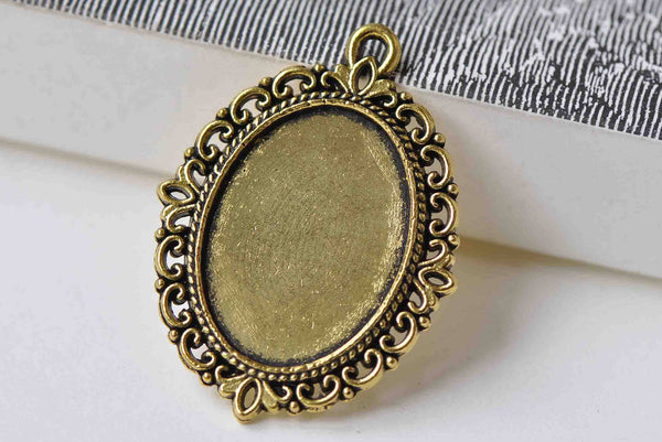 10 pcs Antique Gold Pendant Tray Base Match 18x25mm Cabochon A8911