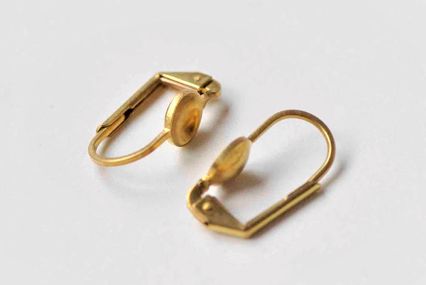 20 pcs Raw Brass Leverback Earwire With 6mm Bezel A8917