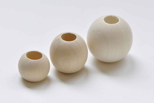 Large Hole Round Unfinished Wood Beads 12mm to 50mm Pick Size