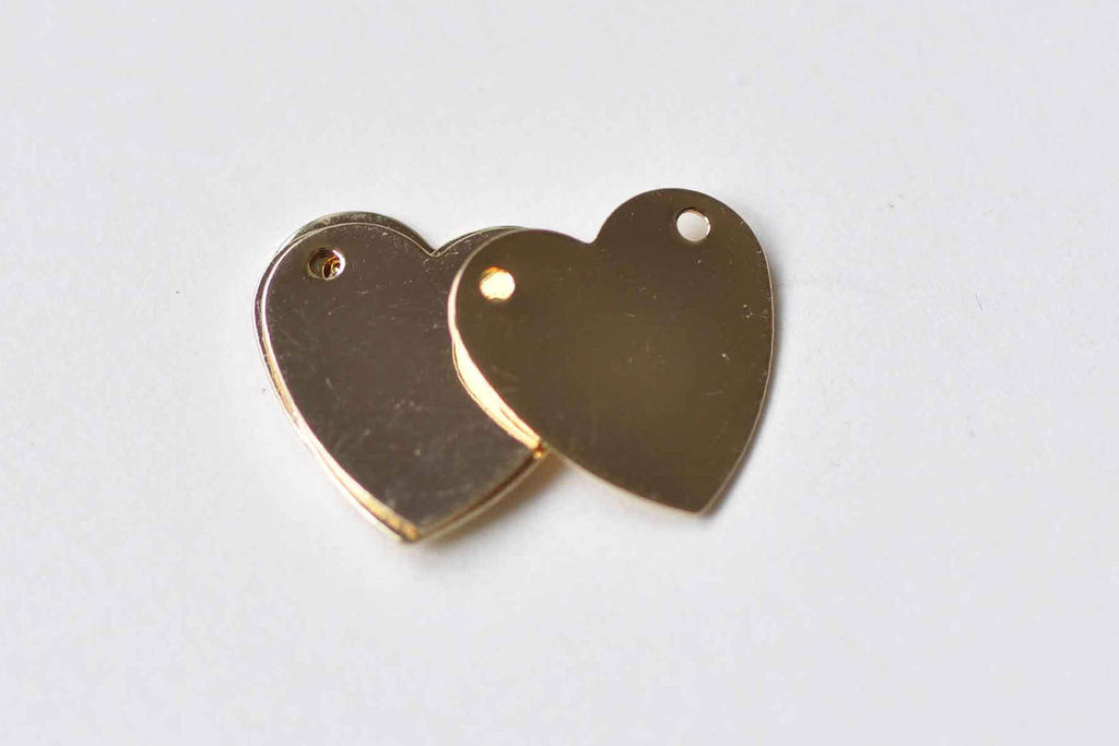 10 pcs 24k Champagne Gold Blank Heart Charms Connectors A8948