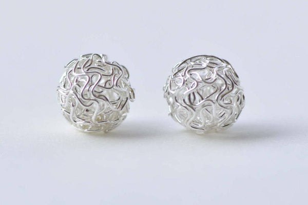10 pcs Silver Tone Iron Hollow Wire Knots Ball Beads 10mm to 30mm