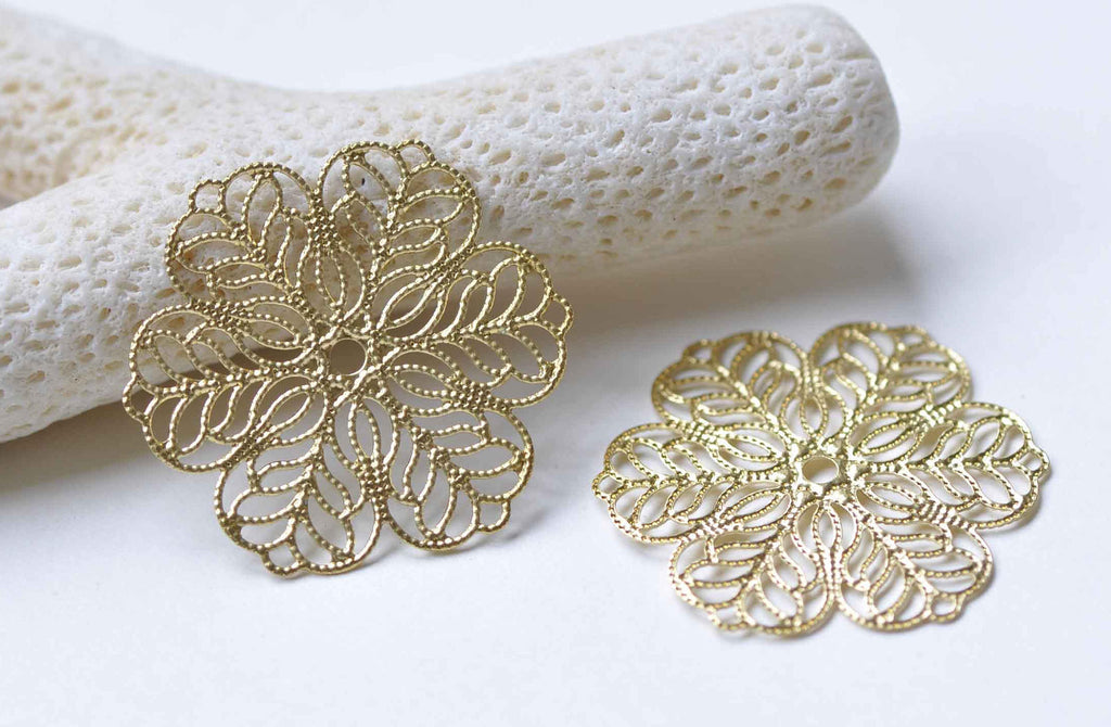 10 pcs Raw Brass Filigree Floral Stamping Embellishments 30mm A8954