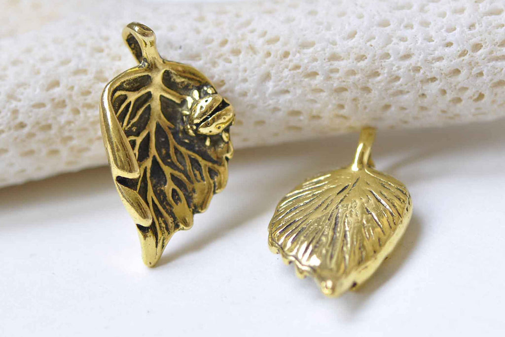 10 pcs Antique Gold Beetle On Leaf Charms 13x24mm A8982
