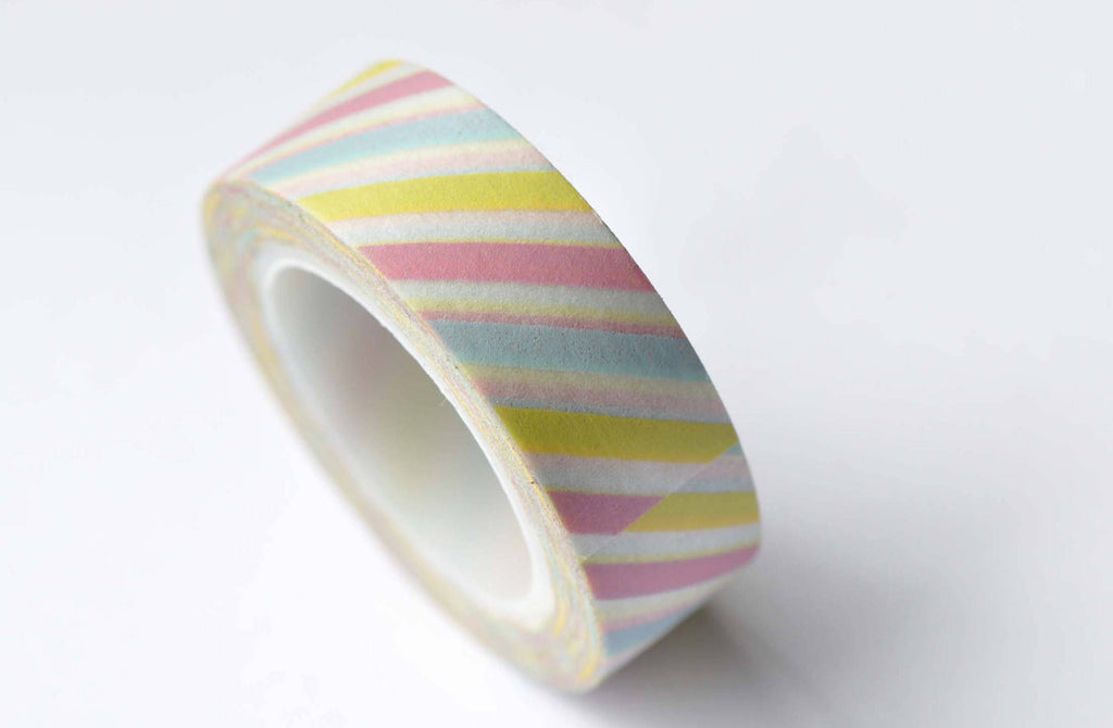 Colourful Translucent Stripes Deco Washi Tape 15mm x 10M Roll A12691