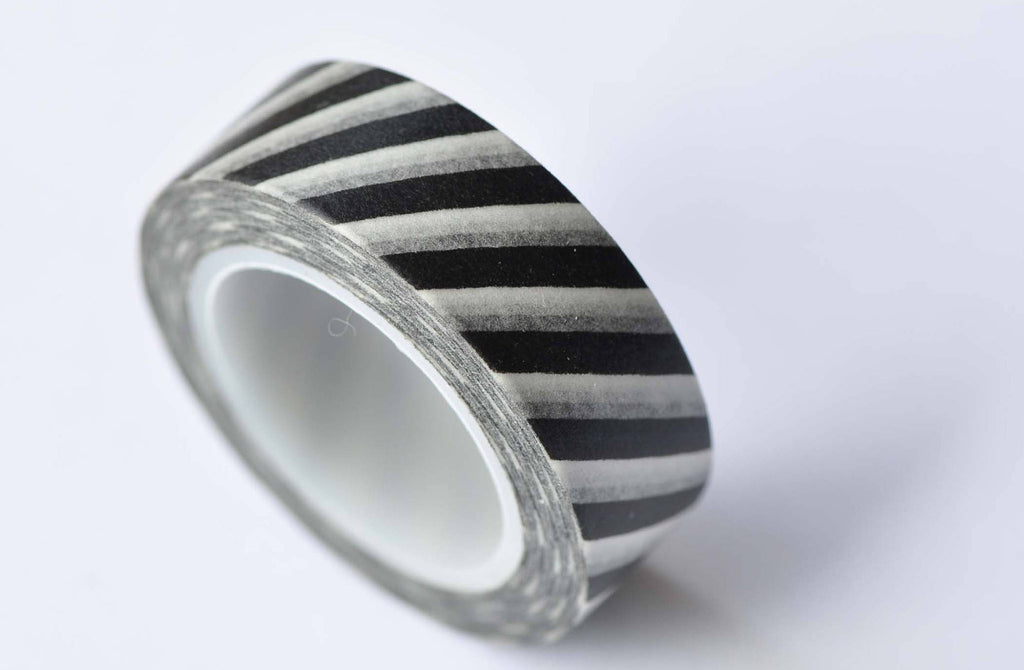Black White Striped Translucent Washi Tape 15mm x 10M Roll A12699